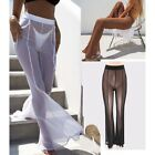 New Sexy Women Ladies Casual Mesh See Through Beach Long Wide Leg Pants Trousers