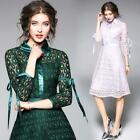 Womens Long lace 3/4 Sleeve Dress A Type Fashion Slim Fit Pa