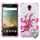 For ZTE Overture 3 Z851M Hybrid TUFF IMPACT Phone Case Hard Rugged Cover