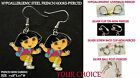Girl Dora Earrings *OPTIONS* Hypoallergenic Pierced OR Clip On Earrings