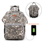 Baby Changing Backpack Nappy Diaper Bag Large Rucksack for Mums Dads w/ USB Port