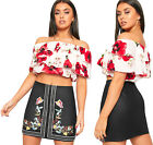 Womens Faux Leather Pu Floral Embroidered Mini Skirt Ladies Zip Side Flower