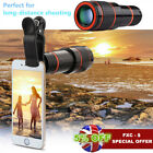 HD 12X Optical Zoom Lens Universal Mobile Camera Telephoto Telescope + Clip-on