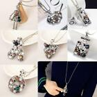 Women Fashion Rhinestone Pendant All Match Long Chain Sweater Necklace DZ88