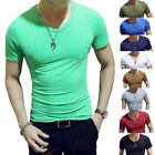 Men's Round Neck cotton Slim Fit T-shirt Short Sleeve Solid Color Casual Tee Top