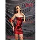 Red Boned Floral Corset Bustier Top Mini Skirt Party Clubwear Fancy Costume