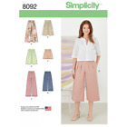 Misses' Skirts, Trousers, Culottes and Shorts Simplicity Sewing Pattern 8092