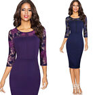 Women Vintage Sexy Contrast Floral Lace Work Cocktail Party Bodycon Sheath Dress