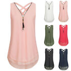 Womens V-neck Casual Sleeveless Shirt Chiffon Loose Top Blouses Plus Size GIFT