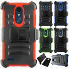 For LG K10 2018 COMBO Holster with Hard HYBRID KICK STAND Rubber Phone Case