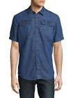 G-Star Men's Medium Aged Cotton Denim Blue Button-Down Shirt