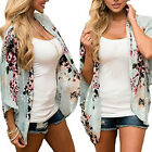 Women Plus Size Casual Kimono Cardigans Chiffon Loose Shirt Floral Outwear US