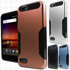 For ZTE Avid 4 Z855 Slim HYBRID Carbon Trim Hard Protector Case Phone Cover