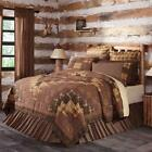 PRESCOTT TWIN QUEEN CAL KING QUILT Rustic Primitive Brown Block Cabin VHC Brands