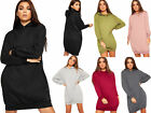 Womens Baggy Hooded Pocket Long Sleeve Sweatshirt Top Ladies Jumper Dress 8-14