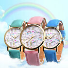 Women Girl Rainbow Unicorn Quartz Analog Faux Leather Band Wrist Watch Showy image