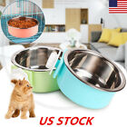 Stainless Steel Hanging Bowl Feeding Bowl Pet Bird Dog Food Water Cage Cup USA