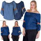 Womens Top Off Shoulder Tunic Gypsy Neck Ladies Floral Casual Loose Bell Sleeve