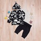 3PCS Newborn Baby Boy Girl Clothes Long Sleeve Romper Top+Pants+Hat