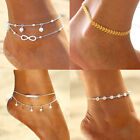 Hot !Gold Silver Ankle Bracelet Women Anklet Adjustable Chain Foot Beach Jewelry