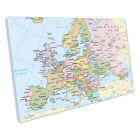 Map of Europe cities Countries light blue Map Art Ocean Ready to Hang X1350