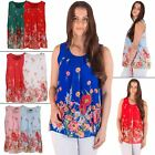 Womens Top Ladies Layered Chiffon Floral Print Italian Lagenlook Pleating Detail