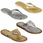 Ladies Sandals Womens Diamante Slip On Slippers Toe Post Flat Summer Fashion New