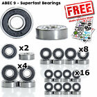 Abec 9 Rated Skateboard Scooter and Roller Skate Bearings - x2, x4, x8 and x16