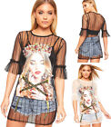 Womens Princess Graphic Print Short Frill Sleeve Mesh Top Ladies Queen Ribbon