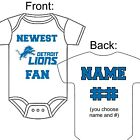 PERSONALIZED DETROIT LIONS FOOTBALL FAN BABY GERBER ONESIE OPTIONAL SOCKS GIFT $23.99 USD on eBay