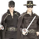 Deluxe Zorro Mens Fancy Dress Spanish Masked Bandit Hero Adults Costumes Outfit