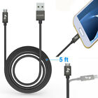 Micro 1.5m USB Braided Data Sync Cable Charger Lead For Samsung Mobile Phones UK