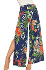 Womens Side Split Floral Print Popper Palazzo Trousers New Ladies Crepe Pants