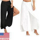 US Women Palazzo Wide Leg Pants Casual Yoga Fitness Slacks Sweatpants Loose