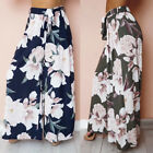 Women's Summer High Waist Wide Leg Trousers Palazzo Loose Casual Pants Navy Blue