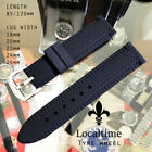 18 20 22 24 26mm Black Tyre Wheel Tread Silicone Rubber Watch Strap - 105/120MM