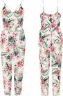 Plus Womens Strappy Sleeveless Wrapover Floral Print Jumpsuit Ladies Pocket