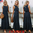 US Women Sleeveless Polka Dot Print Long Maxi Dress Cocktail