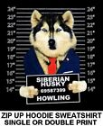COOL SIBERIAN HUSKY MUG SHOT FUNNY NAUGHTY BAD DOG ZIP HO...