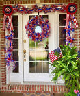 Patriotic 4th of July Wreath Garland Swag Bunting - American Flag Decor -