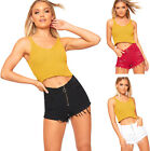 Womens High Waisted Ripped Distressed Denim Zip Front Hot Pants Ladies Shorts