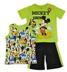 Mickey Mouse Toddler Boys Lime & Black Three-Piece Short Set Size 2T 3T 4T