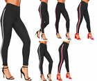 Womens Contrast Side Striped Print Stretch Leggings Ladies Jeggings High Waisted