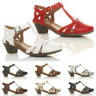WOMENS LADIES LOW BLOCK HEEL CUT OUT T-BAR ANKLE STRAP BROGUE SHOES SANDALS SIZE