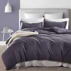 Solid Color Duvet Quilt Cover With Pillow Case Bedding Set Twin, Queen& King