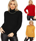 Womens Cable Knitted Long Sleeve Pearl Embellished Jumper Ladies Sweater Top