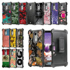 For LG Stylo 4 Q710MS Rugged Dual Layer Case w/Stand+Holster Clip Cover