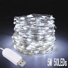 50/100LED USB 12V String Copper Wire Fairy Lights Xmas Party Fairy Decor Lamp