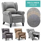 EATON WING BACK FABRIC HERRINGBONE FIRESIDE RECLINER ARMCHAIR SOFA LOUNGE CHAIR