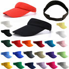 Visor Sun Hat Golf Tennis Beach Men Women Cap Adjustable Sports Gym Plain Color